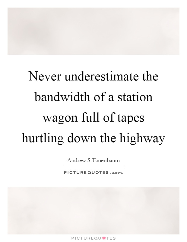 Never underestimate the bandwidth of a station wagon full of tapes hurtling down the highway Picture Quote #1