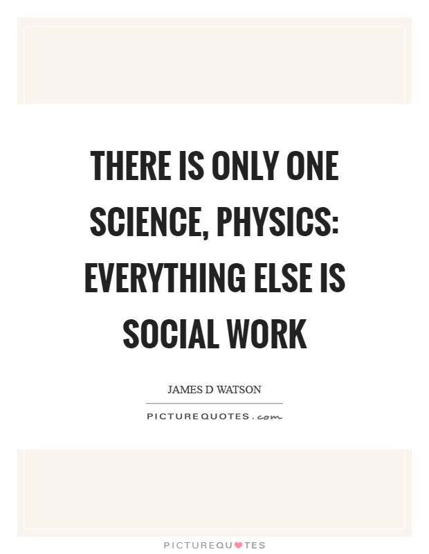 There is only one science, physics: everything else is social work Picture Quote #1