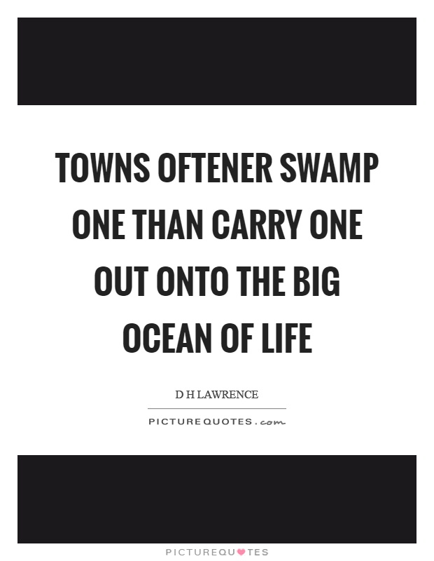 Towns oftener swamp one than carry one out onto the big ocean of life Picture Quote #1
