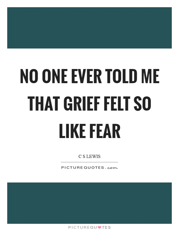No one ever told me that grief felt so like fear Picture Quote #1