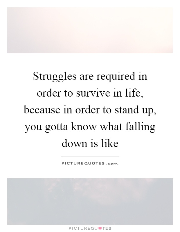 Struggles are required in order to survive in life, because in order to stand up, you gotta know what falling down is like Picture Quote #1