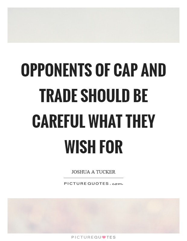 Opponents of cap and trade should be careful what they wish for Picture Quote #1