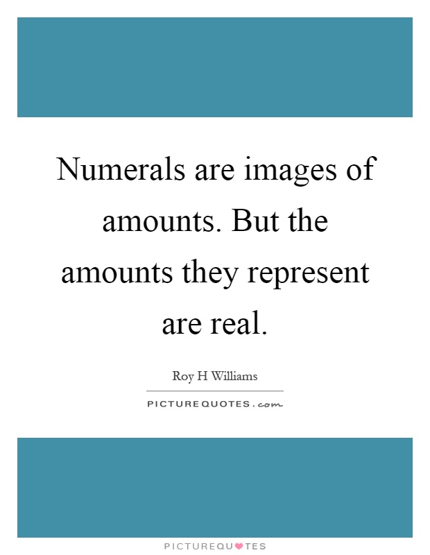 Numerals are images of amounts. But the amounts they represent are real Picture Quote #1