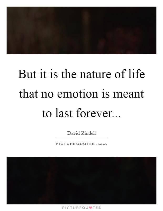 But it is the nature of life that no emotion is meant to last forever Picture Quote #1