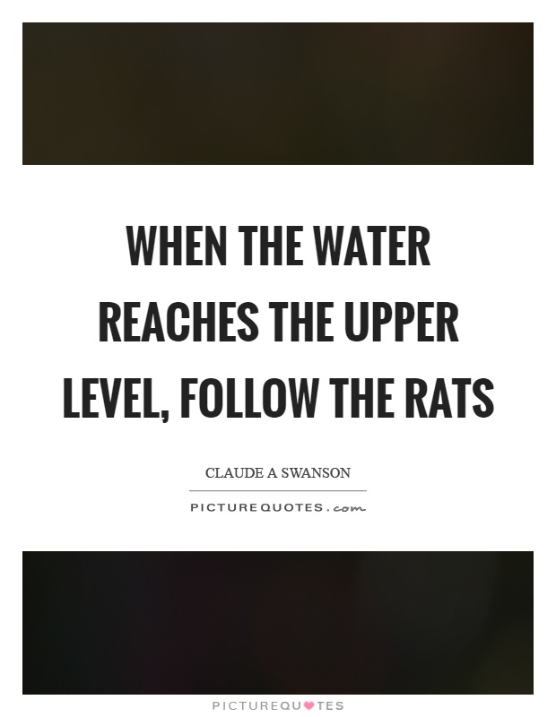 When the water reaches the upper level, follow the rats Picture Quote #1