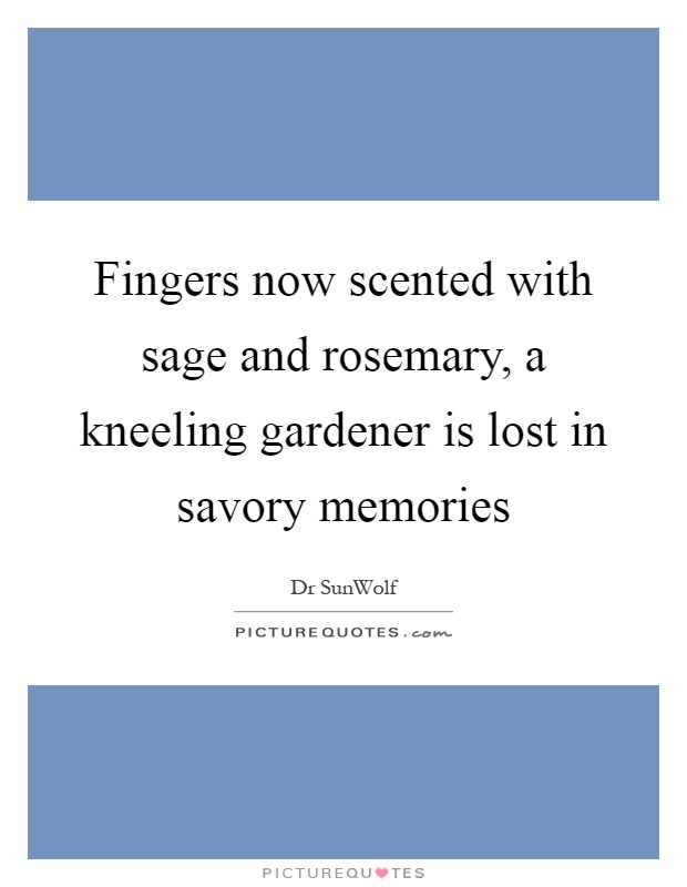 Fingers now scented with sage and rosemary, a kneeling gardener is lost in savory memories Picture Quote #1