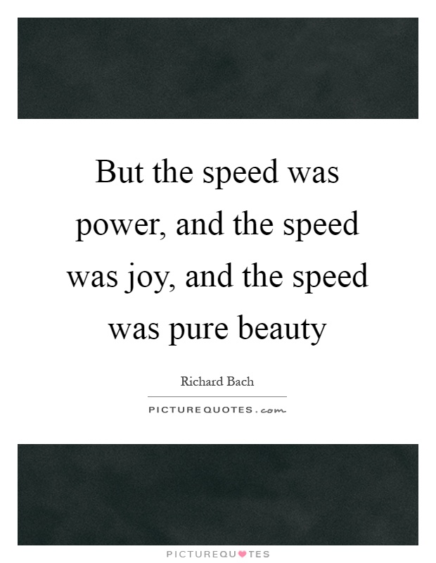 But the speed was power, and the speed was joy, and the speed was pure beauty Picture Quote #1