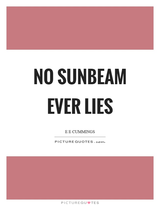 No sunbeam ever lies Picture Quote #1
