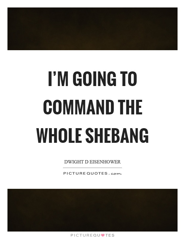 I'm going to command the whole shebang Picture Quote #1