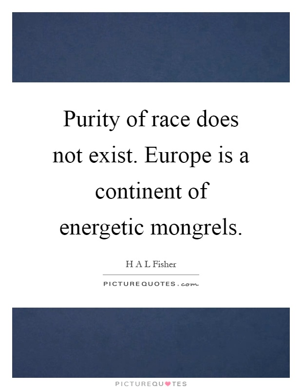 Purity of race does not exist. Europe is a continent of energetic mongrels Picture Quote #1