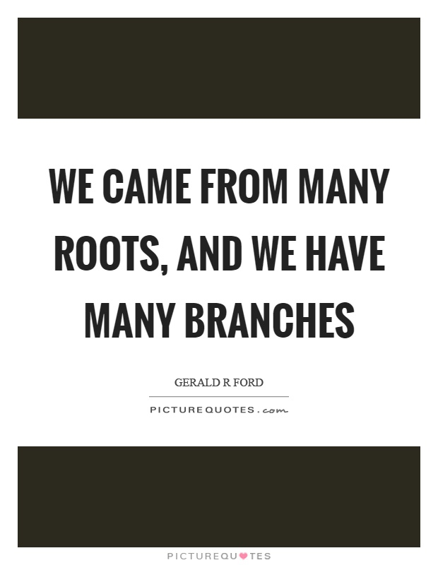 We came from many roots, and we have many branches Picture Quote #1