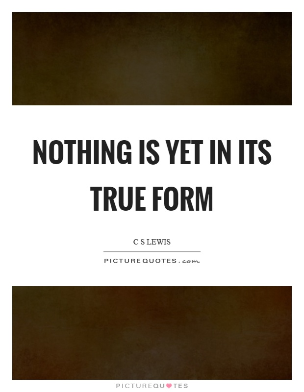 Nothing is yet in its true form Picture Quote #1