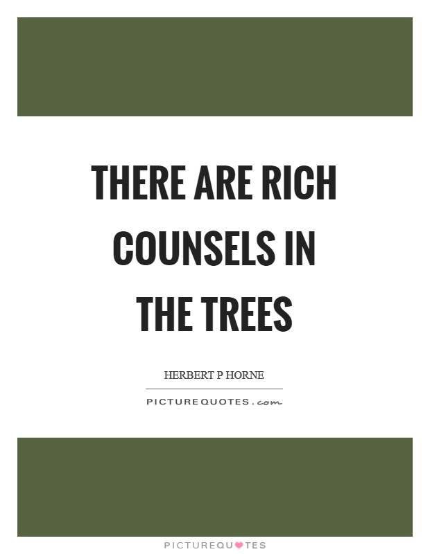 There are rich counsels in the trees Picture Quote #1