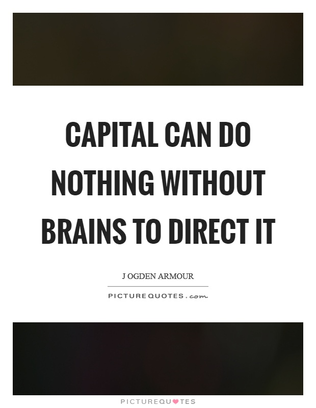 Capital can do nothing without brains to direct it Picture Quote #1