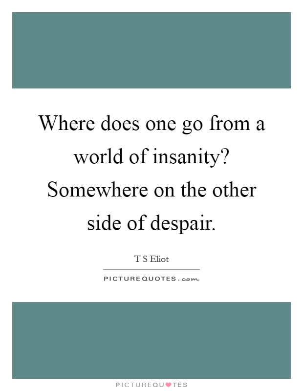 Where does one go from a world of insanity? Somewhere on the other side of despair Picture Quote #1