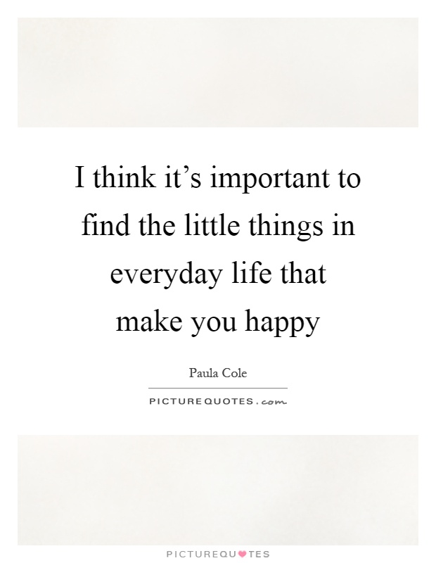 I think it's important to find the little things in everyday life that make you happy Picture Quote #1