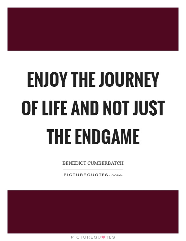 Enjoy the journey of life and not just the endgame Picture Quote #1