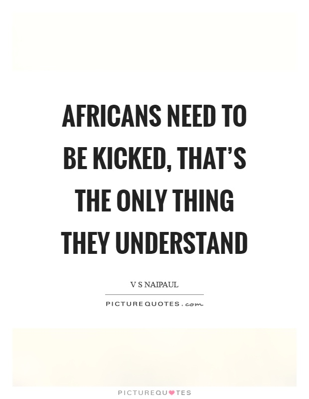 Africans need to be kicked, that's the only thing they understand Picture Quote #1