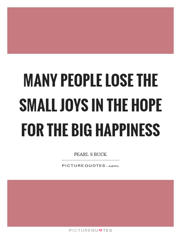 Many people lose the small joys in the hope for the big happiness Picture Quote #1