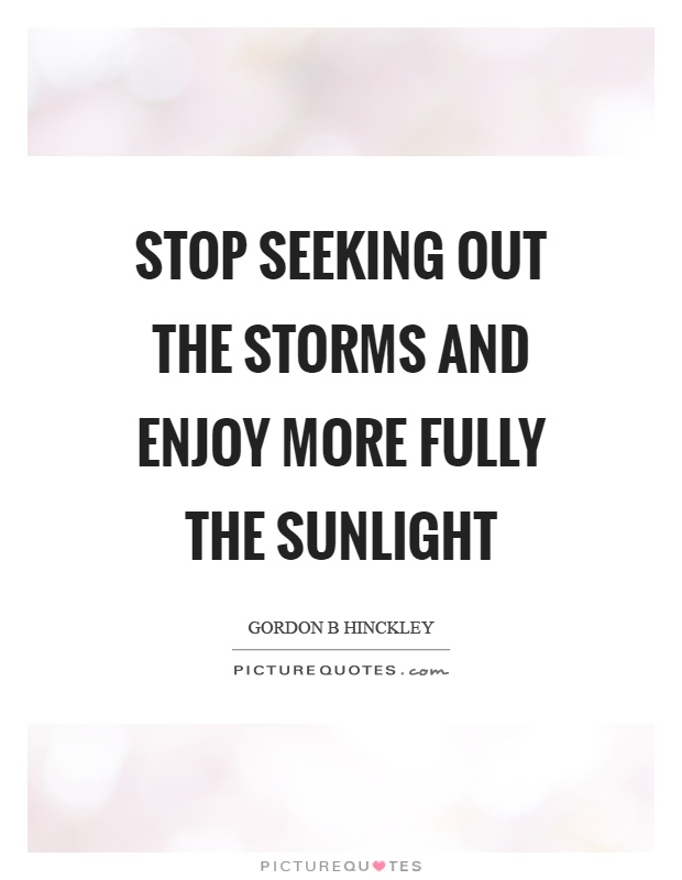 Stop seeking out the storms and enjoy more fully the sunlight Picture Quote #1