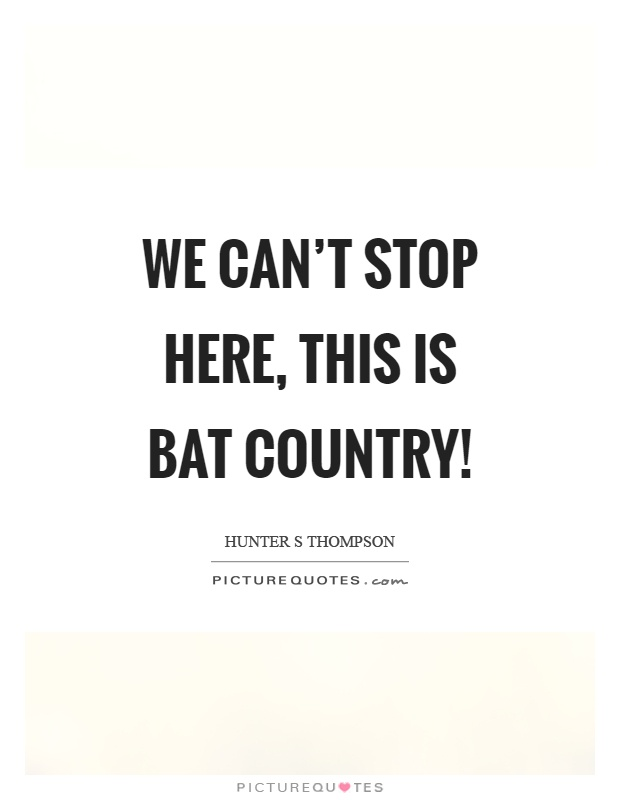 We can't stop here, this is bat country! Picture Quote #1