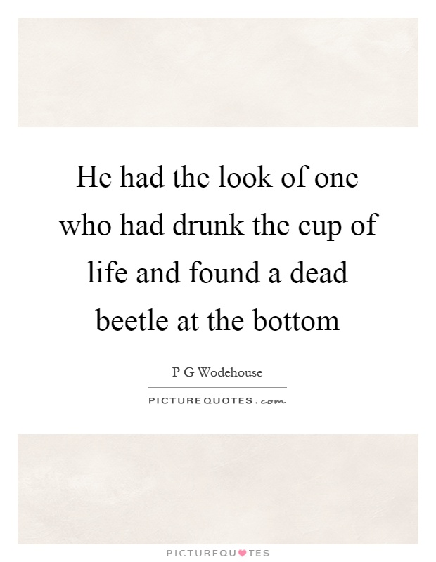 He had the look of one who had drunk the cup of life and found a dead beetle at the bottom Picture Quote #1