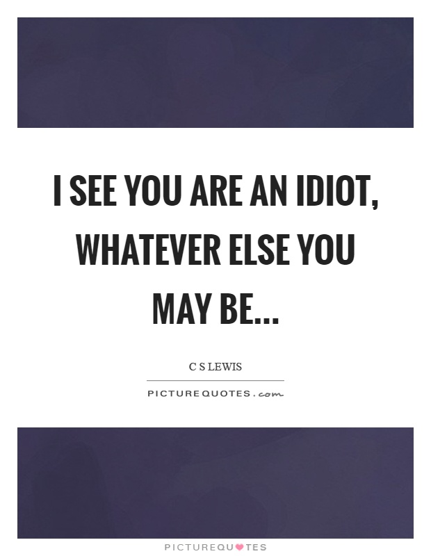 I see you are an idiot, whatever else you may be Picture Quote #1