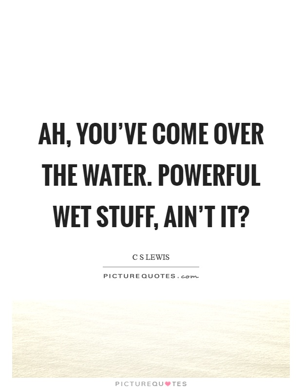 Ah, you've come over the water. Powerful wet stuff, ain't it? Picture Quote #1