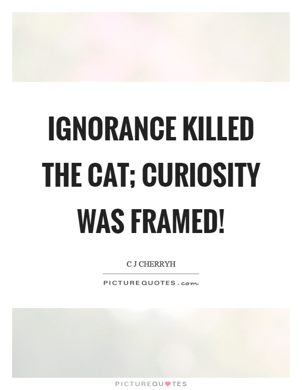 Ignorance killed the cat; curiosity was framed! Picture Quote #1