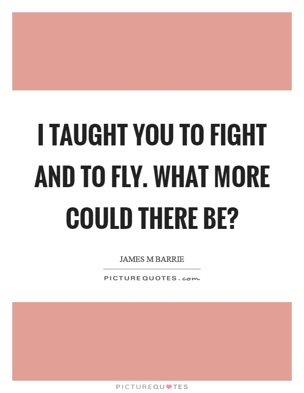 I taught you to fight and to fly. What more could there be? Picture Quote #1
