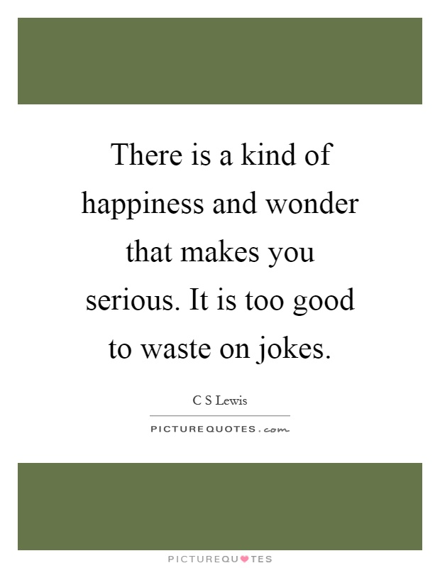 There is a kind of happiness and wonder that makes you serious. It is too good to waste on jokes Picture Quote #1