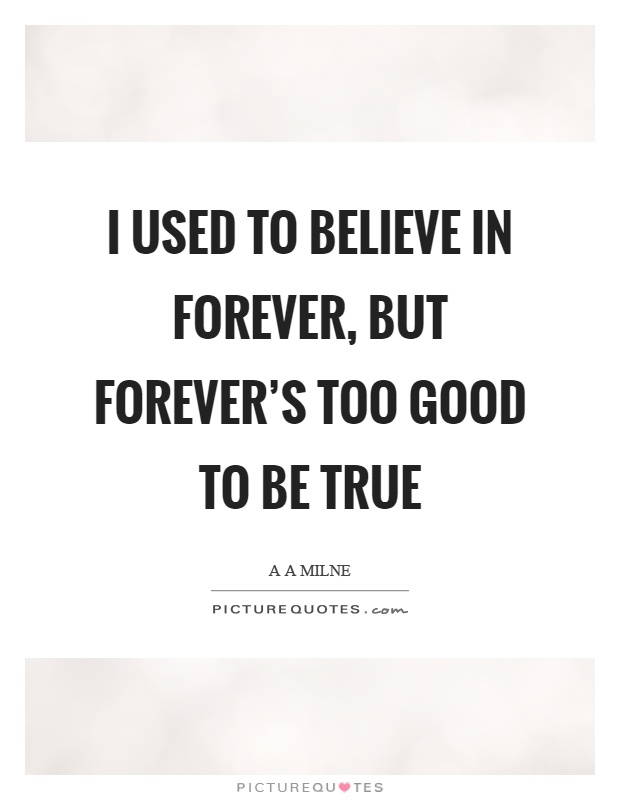 I used to believe in forever, but forever's too good to be true Picture Quote #1