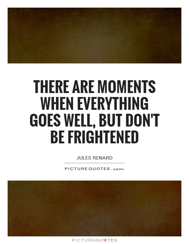 There are moments when everything goes well, but don't be frightened Picture Quote #1