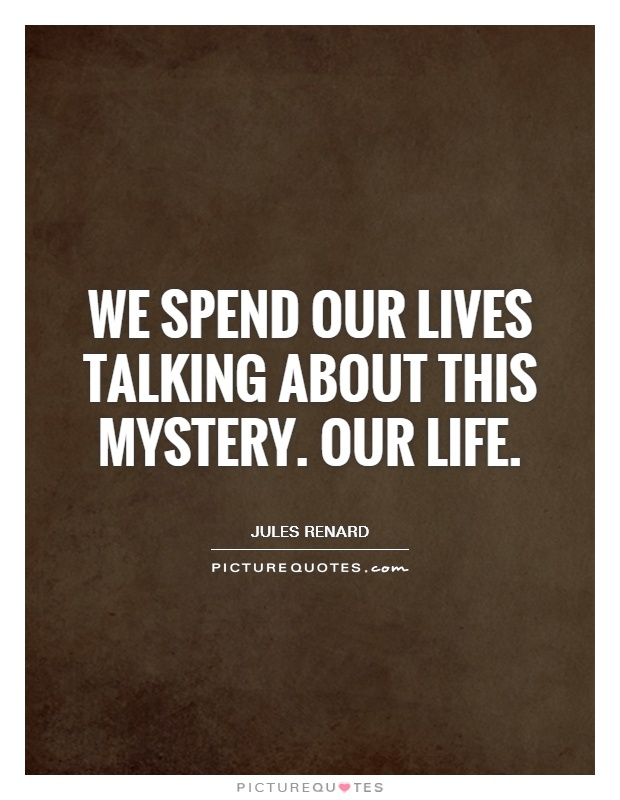 We spend our lives talking about this mystery. Our life Picture Quote #1