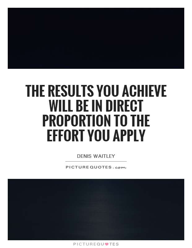The results you achieve will be in direct proportion to the effort you apply Picture Quote #1