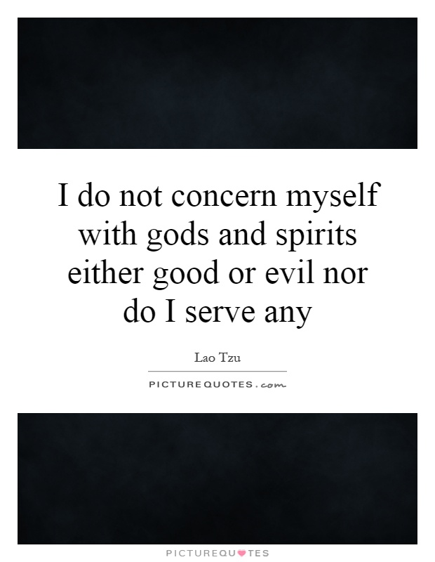 I do not concern myself with gods and spirits either good or evil nor do I serve any Picture Quote #1