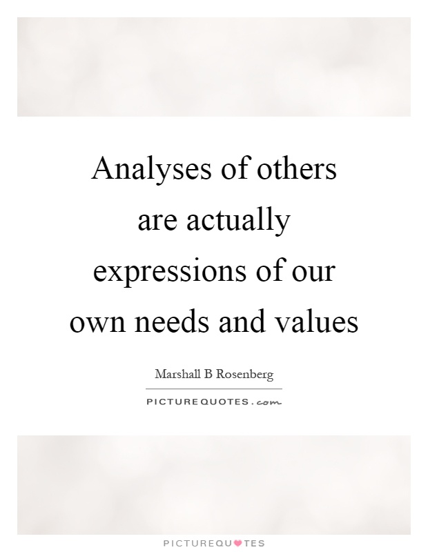 Analyses of others are actually expressions of our own needs and values Picture Quote #1