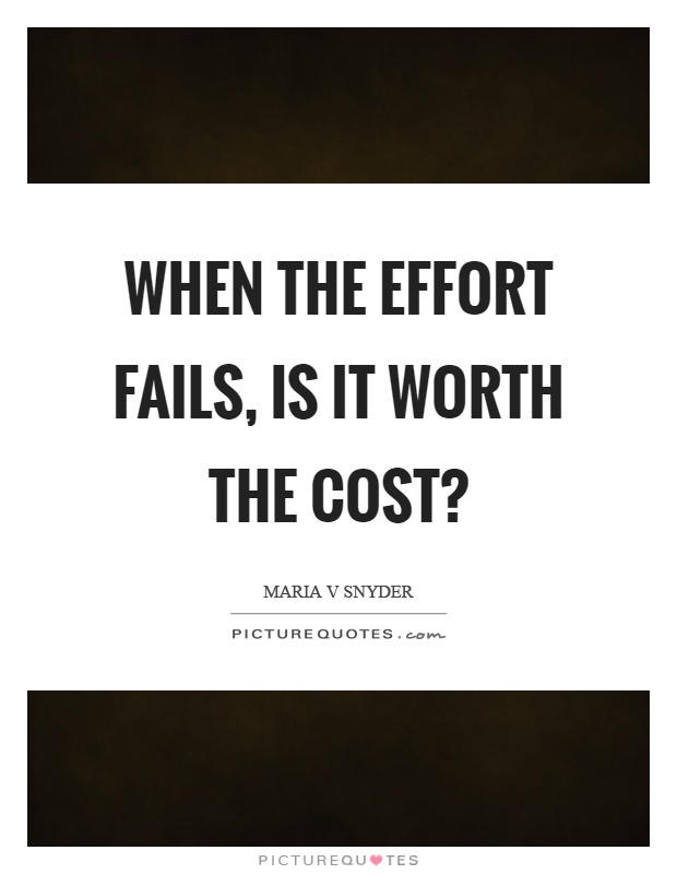 When the effort fails, is it worth the cost? Picture Quote #1