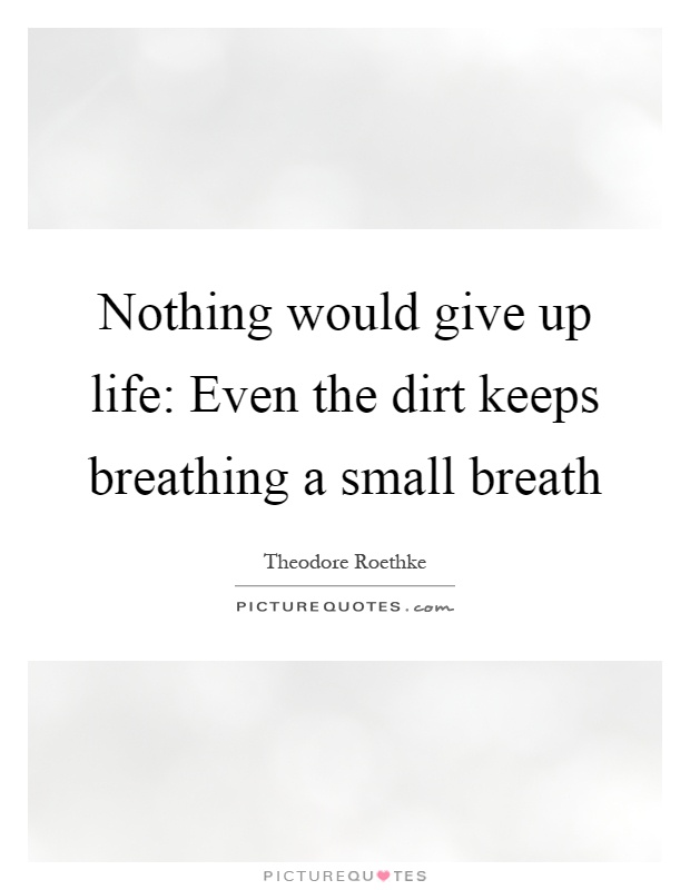 Nothing would give up life: Even the dirt keeps breathing a small breath Picture Quote #1