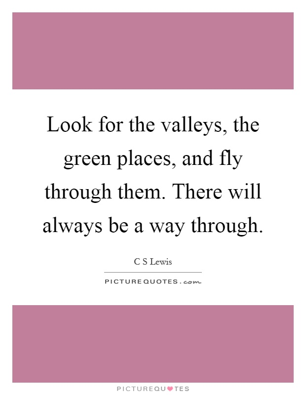 Look for the valleys, the green places, and fly through them. There will always be a way through Picture Quote #1