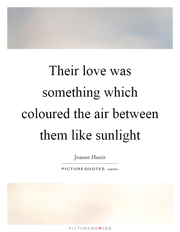 Their love was something which coloured the air between them like sunlight Picture Quote #1