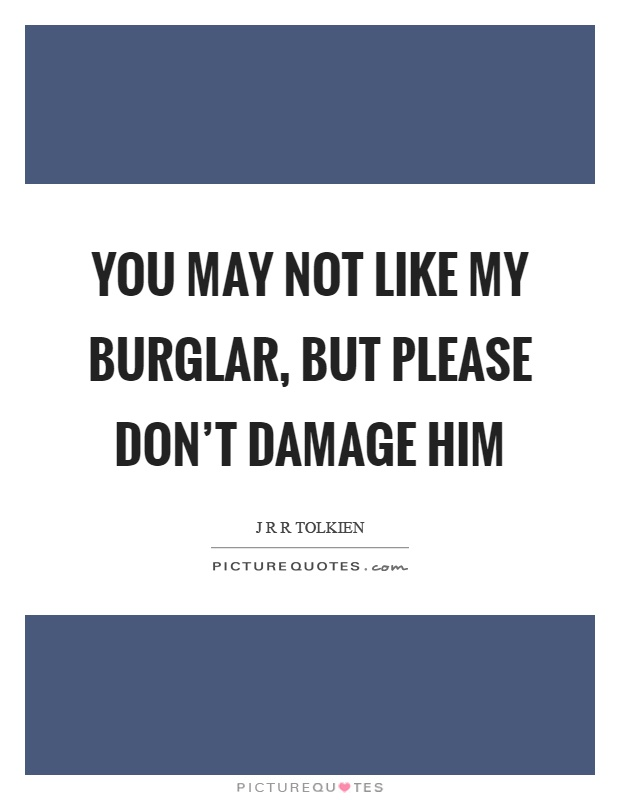 You may not like my burglar, but please don't damage him Picture Quote #1
