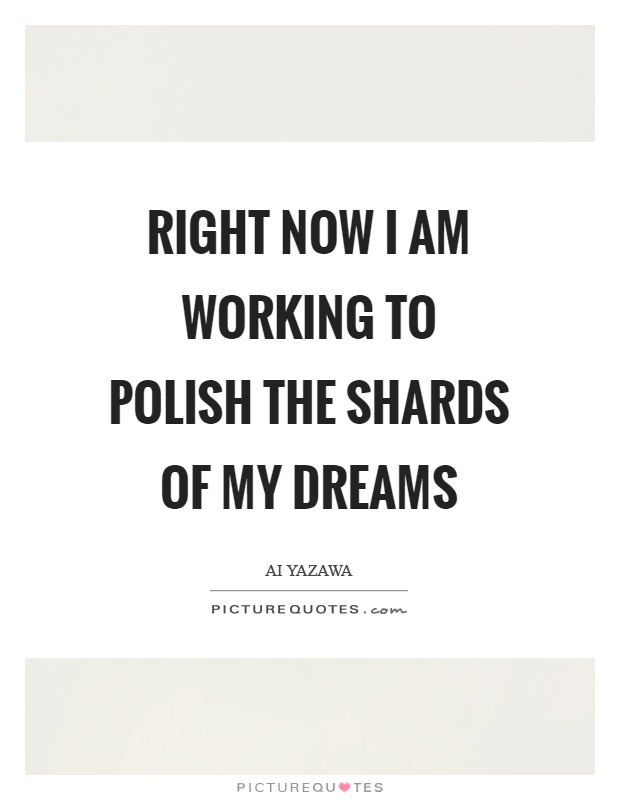 Right now I am working to polish the shards of my dreams Picture Quote #1
