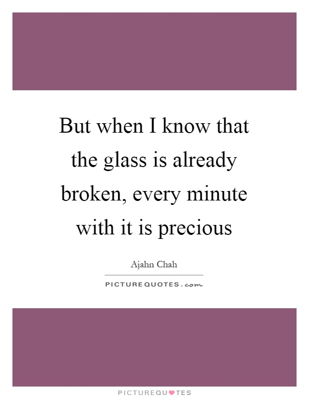 But when I know that the glass is already broken, every minute with it is precious Picture Quote #1
