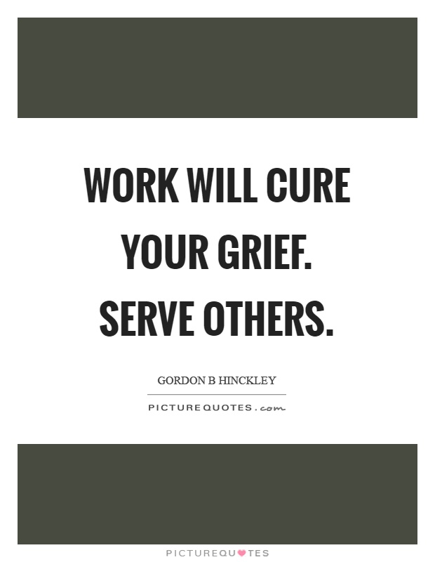 Work will cure your grief. Serve others Picture Quote #1