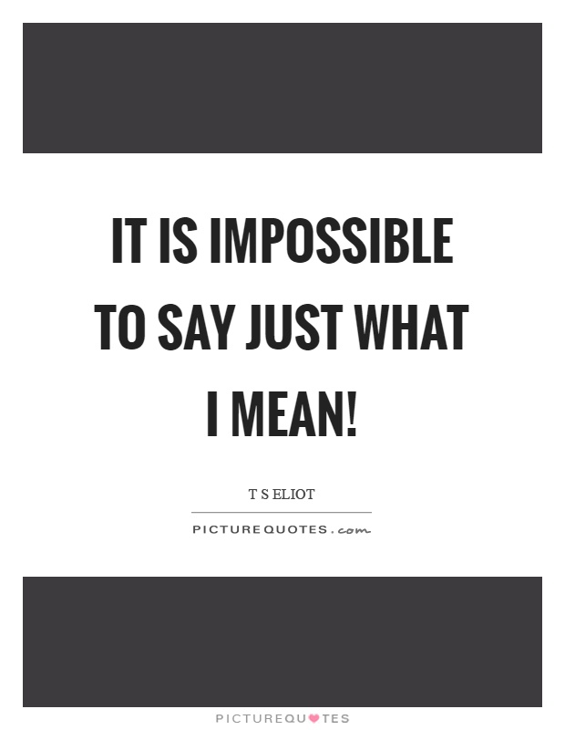 It is impossible to say just what I mean! Picture Quote #1