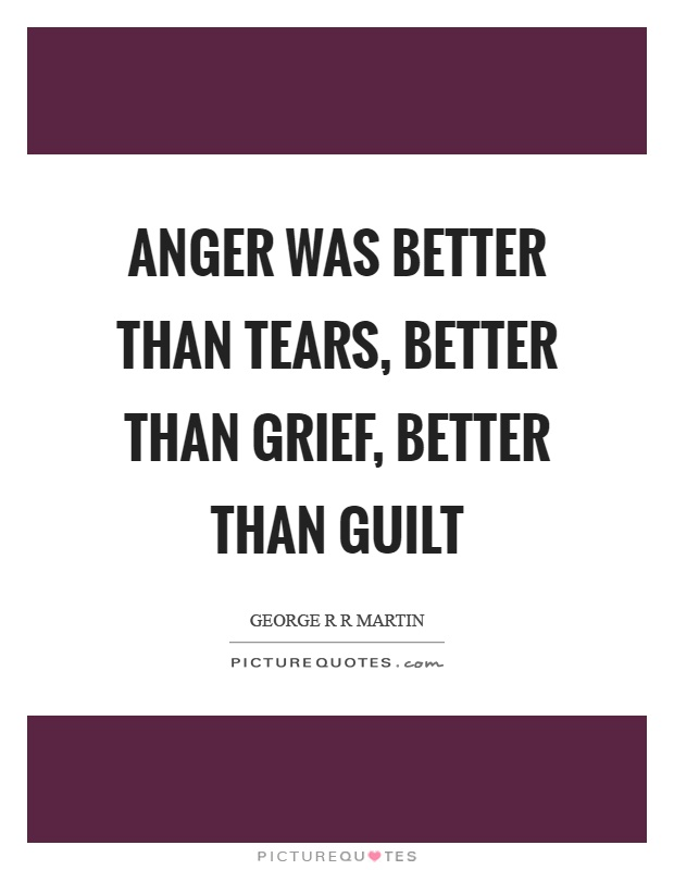 Anger was better than tears, better than grief, better than guilt Picture Quote #1