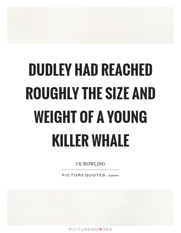 Dudley had reached roughly the size and weight of a young killer whale Picture Quote #1