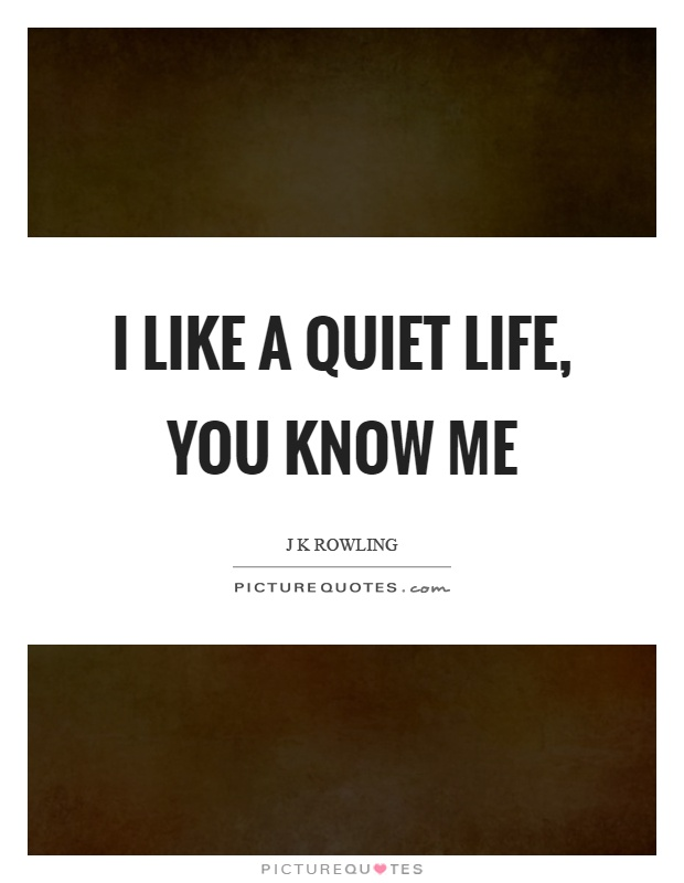 I like a quiet life, you know me Picture Quote #1