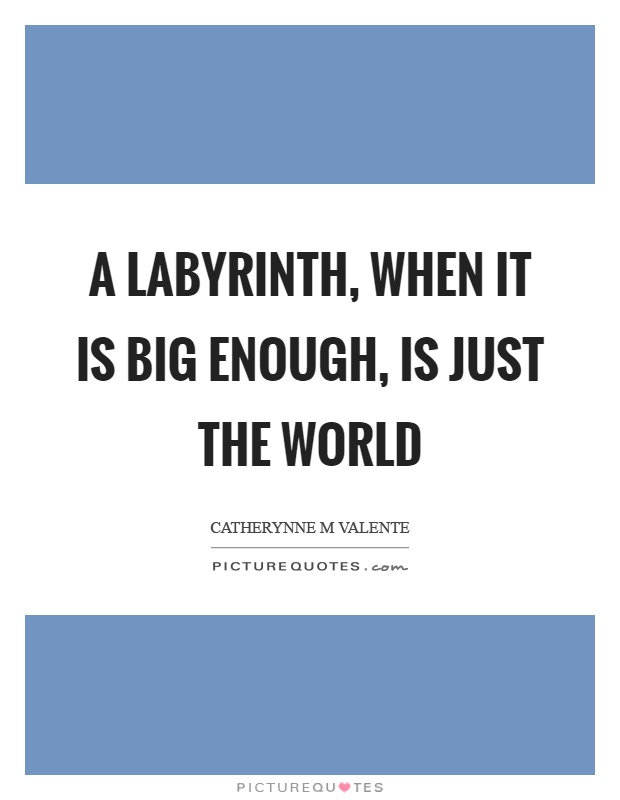 A labyrinth, when it is big enough, is just the world Picture Quote #1